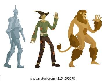 tin man, scarecrow and lion man