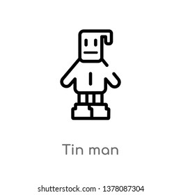 tin man vector line icon. Simple element illustration. tin man outline icon from people concept. Can be used for web and mobile