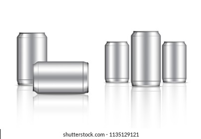 Tin Metallic Can and Bottle Beverage Packaging Set on White Background Illustration