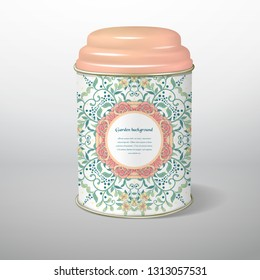Tin packaging with a round pattern of french roses. Tea, coffee, dry products