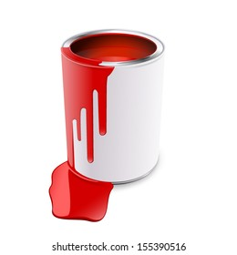 Tin of red paint, isolated object