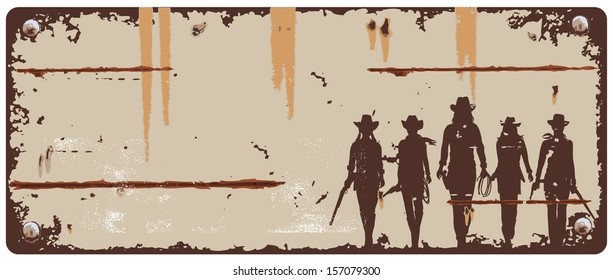 Tin sign cowgirls, vector