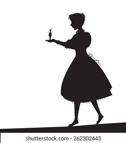 Tin soldier, girl holding a tin soldier, Andersen  fairy tales, silhouette.