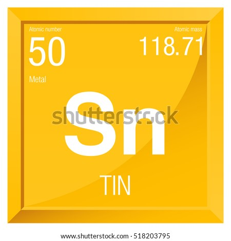Tin Symbol Element Number 50 Periodic Stock Vector Royalty Free