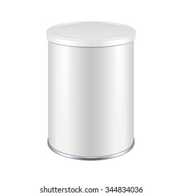 Tincan Metal Tin Can, Canned Food With Lid. Illustration Isolated On White Background. Mock Up Template Ready For Your Design. Vector EPS10