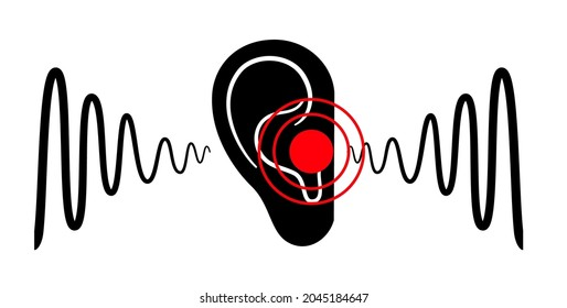 Tinnitus disease concept. Pain, inflammation in human ear. Symbol of earache, ringing and loud sounds in ears. Medical checkup of hearing organs, neurology problems treatment flat vector illustration.