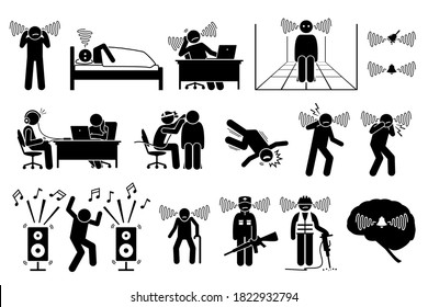Tinnitus ear ringing noise in people icons. Vector illustrations of a man having tinnitus and experiencing a noisy sound in the ears.