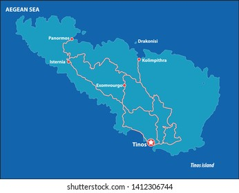 Tinos Island Vector Map Greece. This is a very detailed map of TinosIsland in Greece Aegean sea. It has a layer with roads and major cities.