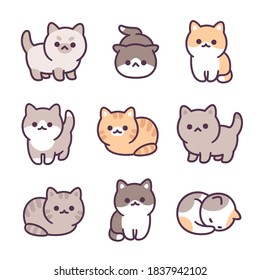 Tiny baby kittens hand drawn illustration set. Adorable little cats, different breeds and poses. Simple kawaii doodle style.