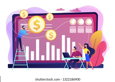 Tiny business people and analysts transforming data into money. Data monetization, monetizing of data services, selling of data analysis concept. Bright vibrant violet vector isolated illustration