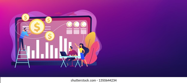 Tiny business people and analysts transforming data into money. Data monetization, monetizing of data services, selling of data analysis concept. Header or footer banner template with copy space.