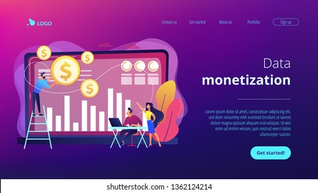Tiny business people and analysts transforming data into money. Data monetization, monetizing of data services, selling of data analysis concept. Website vibrant violet landing web page template.