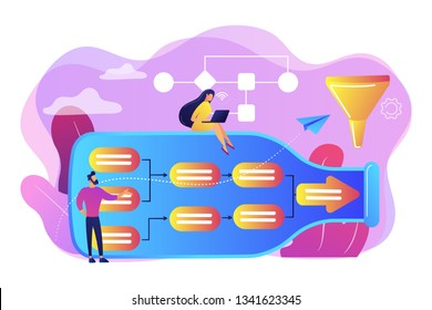 Tiny business people at bottle looking for system least capacity. Bottleneck analysis, bottlenecking control, workflow improvement concept. Bright vibrant violet vector isolated illustration