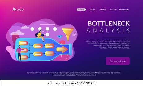 Tiny business people at bottle looking for system least capacity. Bottleneck analysis, bottlenecking control, workflow improvement concept. Website vibrant violet landing web page template.