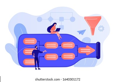 Tiny business people at bottle looking for system least capacity. Bottleneck analysis, bottlenecking control, workflow improvement concept. Pink coral blue vector isolated illustration