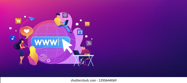 Tiny business people with digital devices at big globe surfing internet. Internet addiction, real-life substitution, living online disorder concept. Header or footer banner template with copy space.