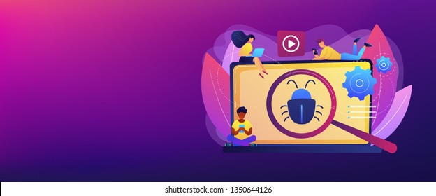 Tiny business people with digital devices testing demo software. Beta testing, new product testing, presale user experience concept. Header or footer banner template with copy space.