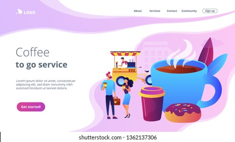 Tiny business people drinking coffee in the street, food cart and huge cup and donut. Street coffee, coffee to go service, street hot drinks concept. Website homepage landing web page template.