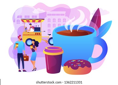 Tiny business people drinking coffee in the street, food cart and huge cup and donut. Street coffee, coffee to go service, street hot drinks concept. Bright vibrant violet vector isolated illustration