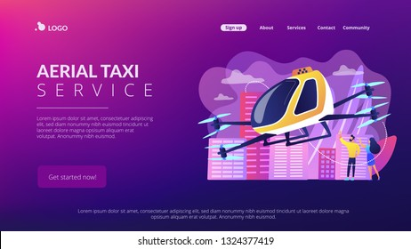 Tiny business people go on trip in aerial taxi in the city. Aerial taxi service, aerial ride-hailing platform, flying transport development concept. Website vibrant violet landing web page template.