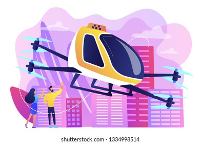Tiny business people go on trip in aerial taxi in the city. Aerial taxi service, aerial ride-hailing platform, flying transport development concept. Bright vibrant violet vector isolated illustration