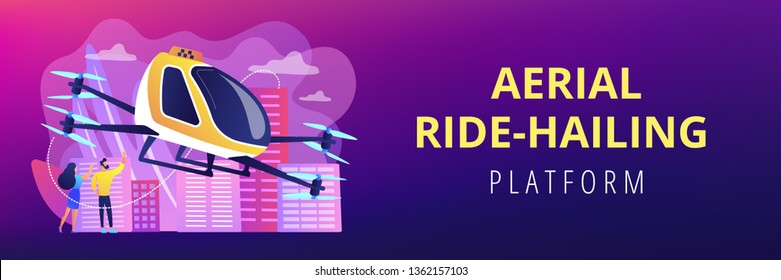 Tiny business people go on trip in aerial taxi in the city. Aerial taxi service, aerial ride-hailing platform, flying transport development concept. Header or footer banner template with copy space.