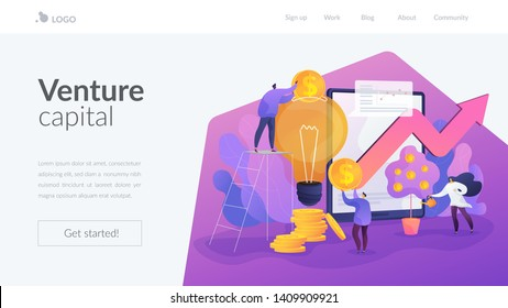 Tiny business people investing into innovation with high potential. Venture capital, venture investment, venture financing and business angel concept. Website homepage header landing web page template