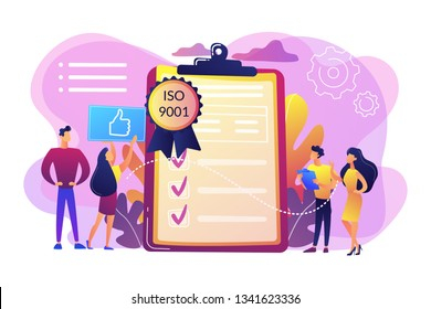 Tiny business people like standard for quality control. Standard for quality control, ISO 9001 standard, international certification concept. Bright vibrant violet vector isolated illustration