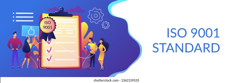 Tiny business people like standard for quality control. Standard for quality control, ISO 9001 standard, international certification concept. Header or footer banner template with copy space.