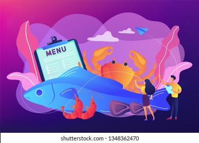 Tiny business people reading menu and sea food products, fish and crab. Seafood menu, seafood nutrition diet, marine products shop concept. Bright vibrant violet vector isolated illustration