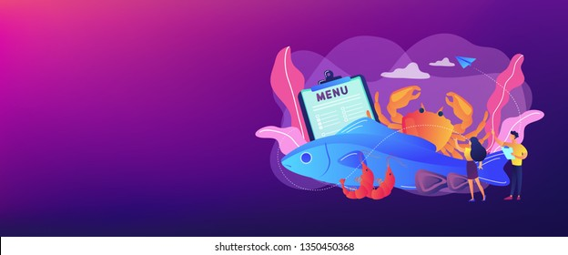 Tiny business people reading menu and sea food products, fish and crab. Seafood menu, seafood nutrition diet, marine products shop concept. Header or footer banner template with copy space.