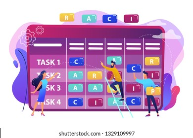 Tiny business people at responsibility chart with tasks. RACI matrix, responsibility assignment matrix, linear responsibility chart concept. Bright vibrant violet vector isolated illustration