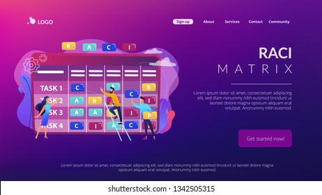 Tiny business people at responsibility chart with tasks. RACI matrix, responsibility assignment matrix, linear responsibility chart concept. Website vibrant violet landing web page template.