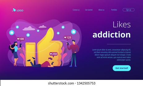 Tiny business people with smartphones and tablet get like notifications. Likes addiction, thumbs-up dependence, social media madness concept. Website vibrant violet landing web page template.