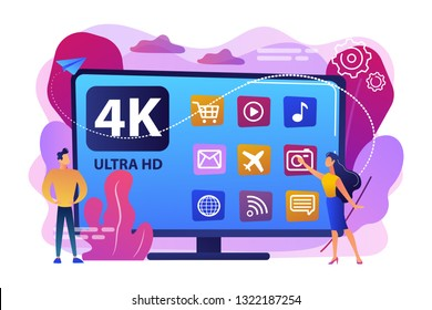 Tiny business people watching modern ultra hd smart television. UHD smart TV, ultra high definition, 4k 8k display technology concept. Bright vibrant violet vector isolated illustration