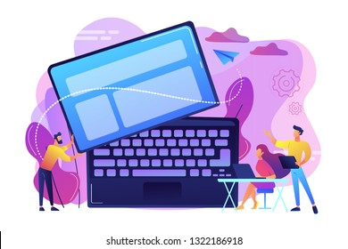 Tiny business people work at detachable computer. Detachable device technology, detachable computer, modular electronics development concept. Bright vibrant violet vector isolated illustration