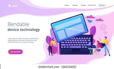 Tiny business people work at detachable computer. Detachable device technology, detachable computer, modular electronics development concept. Website vibrant violet landing web page template.