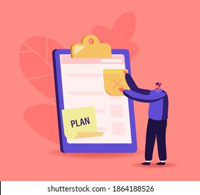 Tiny Businessman Character Put Sticky Notes on Huge Clipboard or Textbook. Searching Solution, Planning Deals or Thinking New Ideas. Task Questionnaire List Result, Plan. Cartoon Vector Illustration