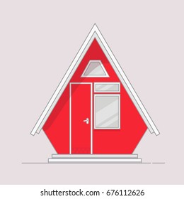 Tiny cabin. Flat line style vector illustration of wooden house.