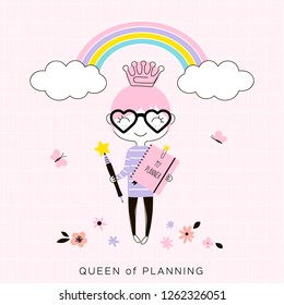 tiny cartoon happy planner girl with pink notebook and pen wearing crown shaped clip standing under the rainbow, kawaii style character, pastel colours simple flat vector graphic, cute office concept