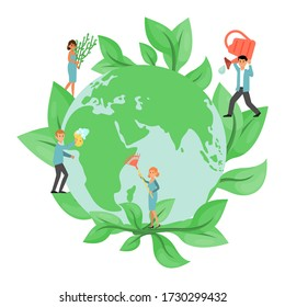 Tiny character people male female ecology activist save earth, environmental protection isolated on white, flat vector illustration. Man woman eco pour water, clean and recycling no pollution.