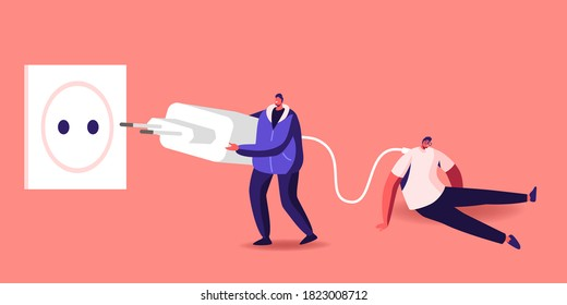 Tiny Character Put Huge Plug into Socket to Recharge Tired and Exhausted Business Man Sitting with Low Life Energy Percent. Working Burn Out, Zero Accumulator Power. Cartoon People Vector Illustration
