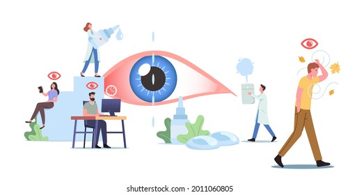 Tiny Characters around of Huge Eye. People Suffer of DES, Dry Eyes Syndrome and Conjunctivitis Disease Visit Clinic. Medical and Pharmaceutical Concept, Vision Treatment. Cartoon Vector Illustration