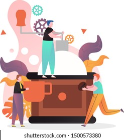 Tiny characters barista team making coffee using big hand coffee grinder, vector illustration. Coffee shop, coffeehouse, professional barkeeper training composition for web banner, website page etc.