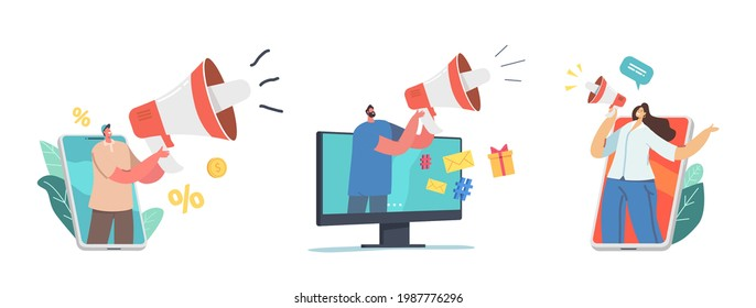 Tiny Characters with Huge Megaphone. Digital Marketing, Public Relations and Affairs, Communication. Pr Agency Work, Alert Advertising, Social Media Promotion. Cartoon People Vector Illustration