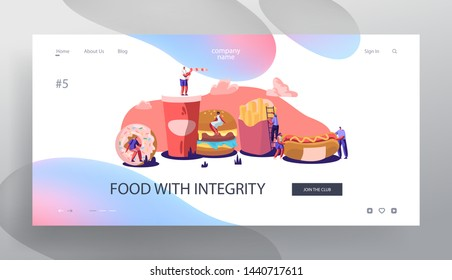 Tiny Characters Interacting with Fastfood. Huge Burger, Hot Dog, French Fries, Donut, Soda Drink. People Eating Street Fast Food Website Landing Page, Web Page. Cartoon Flat Vector Illustration Banner