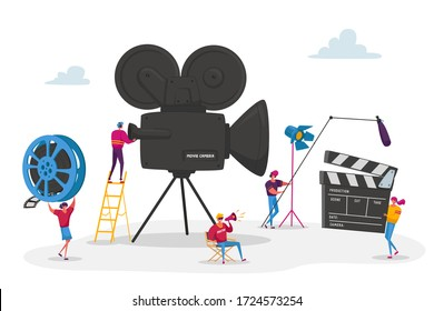 Tiny Characters Making Movie. Operator Using Camera and Staff with Professional Equipment Recording Film. Director with Megaphone, People with Clapperboard and Reel Film. Cartoon Vector Illustration