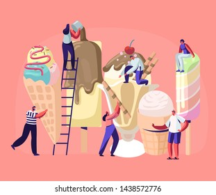 Tiny Characters on Ladders Decorate Ice Cream. Summer Time Food, Delicious Sweet Dessert, Cold Meal. Different Types of Icecream Popsicle, Waffle Cone, Creme Brulee. Cartoon Flat Vector Illustration