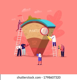 Tiny Characters on Ladders Study Structure of the Earth Divided Into Layers Crust, Mantle, Outer and Inner Core. Scientists or Students Learn Geophysics Science. Cartoon People Vector Illustration