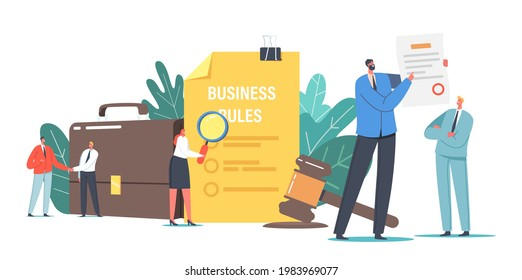 Tiny Characters Read Corporate Compliance Rules, Culture and Policies. Representation of Business Laws, Regulations and Standards, Ethical Practices, Terms of Firm. Cartoon People Vector Illustration